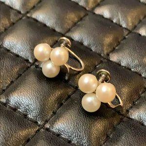 Vintage 14K Platinum Gold Pearl Glover Earrings